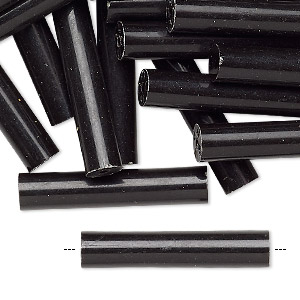 bead, acrylic, black, 30x6mm round tube. sold per pkg of 24.