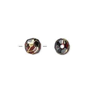 bead, acrylic, black with red speckles and gold-colored striping, 8mm faceted round. sold per pkg of 350.