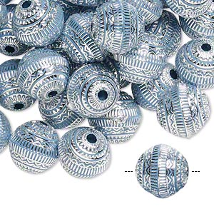 bead, acrylic, blue and silver, 11mm round with line design, 2mm hole. sold per pkg of 100.