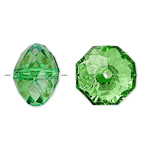 bead, acrylic, green, 18x13mm faceted rondelle. sold per 100-gram pkg, approximately 40 beads.