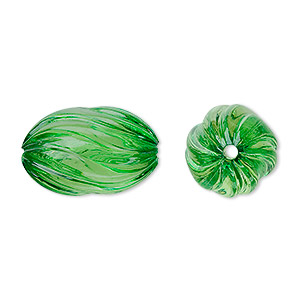 bead, acrylic, green, 20x13mm fluted oval. sold per 100-gram pkg, approximately 50 beads.
