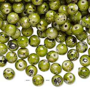bead, acrylic, green with gold/silver/black speckles, 6mm round. sold per pkg of 800.