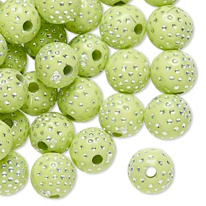 bead, acrylic, lime green and silver, 10mm round with dots, 2mm hole. sold per pkg of 100.