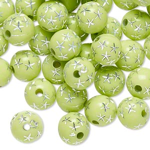 bead, acrylic, lime green and silver, 8mm round with stars, 1.75mm hole. sold per pkg of 100.