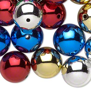 bead, acrylic, metallic multicolored, 16mm round with 1.75mm hole. sold per pkg of 24.