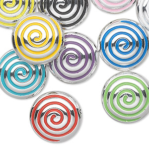bead, acrylic, mixed colors, 28x14mm puffed flat round with swirl. sold per pkg of 10.