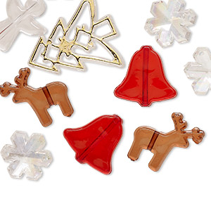 bead, acrylic, multicolored, 20x20mm-35x31mm assorted christmas shapes with 1.5-2.1mm hole. sold per pkg of 70.