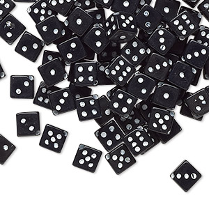 bead, acrylic, opaque black and white, 5mm diagonally drilled dice. sold per pkg of 100.