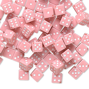 bead, acrylic, opaque pink and white, 5mm dice. sold per pkg of 100.
