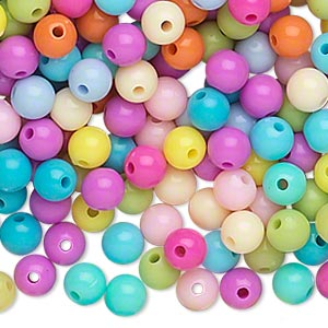 bead, acrylic, opaque spring colors, 6mm round. sold per pkg of 1,116.