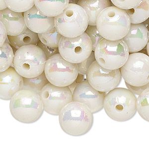 bead, acrylic, opaque white ab, 10mm round with 2.4-2.5mm hole. sold per 200-gram pkg, approximately 300-400 beads.