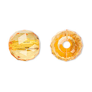 bead, acrylic, orange, 15mm faceted round. sold per 100-gram pkg, approximately 50 beads.