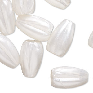 bead, acrylic, pearlized opaque white, 17x12mm fluted teardrop with 3.5mm hole. sold per pkg of 24.
