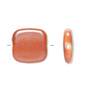 bead, acrylic, pearlized orange, 17x17mm flat square. sold per pkg of 80.