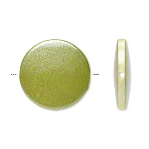 bead, acrylic, pearlized peridot green, 21mm flat round. sold per pkg of 70.