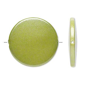 bead, acrylic, pearlized peridot green, 41mm flat round. sold per pkg of 14.