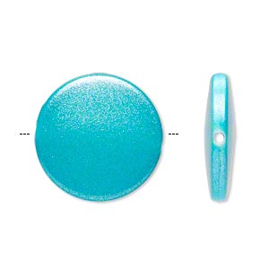 bead, acrylic, pearlized turquoise blue, 21mm flat round. sold per pkg of 70.