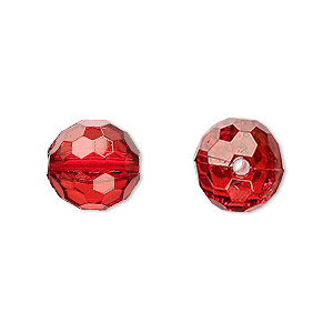 bead, acrylic, red, 12mm faceted round. sold per 100-gram pkg, approximately 100 beads.