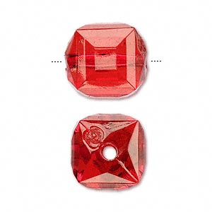 bead, acrylic, red, 17x15mm faceted cube. sold per 100-gram pkg, approximately 30 beads.