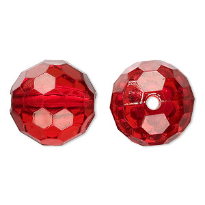 bead, acrylic, red, 20mm faceted round. sold per 100-gram pkg, approximately 20 beads.