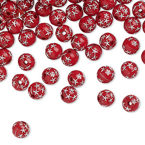 bead, acrylic, red, 8mm round with stars. sold per 50-gram pkg, approximately 160-180 beads.