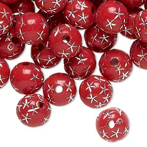 bead, acrylic, red and silver, 8mm round with stars, 1.75mm hole. sold per pkg of 100.