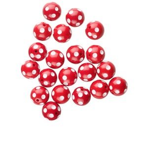 bead, acrylic, red and white, 16mm round with dots. sold per pkg of 20.