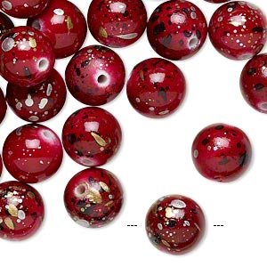 bead, acrylic, red with gold/silver/black speckles, 10mm round. sold per pkg of 170.