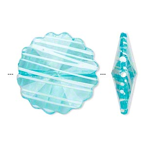 bead, acrylic, semitransparent blue and white, 25mm faceted round flower with painted line design. sold per pkg of 48.