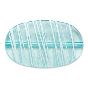 bead, acrylic, semitransparent blue and white, 45x27mm flat oval with painted line design. sold per pkg of 20.