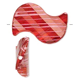 bead, acrylic, semitransparent red and white, 35x23mm s-shape with painted line design. sold per pkg of 24.