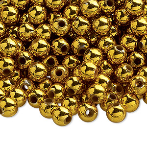 bead, acrylic, shiny metallic gold, 6mm round. sold per 100-gram pkg, approximately 750-950 beads.