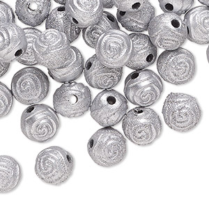 bead, acrylic, silver, 8mm round rose with 1.5mm hole. sold per pkg of 100.