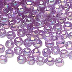 bead, acrylic, translucent violet ab, 6mm round. sold per 100-gram pkg, approximately 900-1,000 beads.