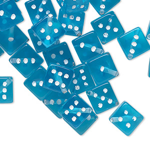 bead, acrylic, transparent aqua blue and opaque white, 7.5mm dice. sold per pkg of 50.