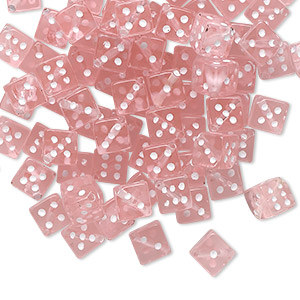 bead, acrylic, transparent pink and opaque white, 5mm dice. sold per pkg of 100.