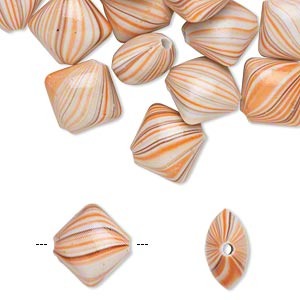 bead, acrylic, white / brown / orange, 18x16mm puffed diamond with stripes. sold per pkg of 30.