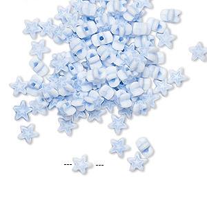 bead, acrylic, white and light blue, 5x4.5mm star. sold per pkg of 100.