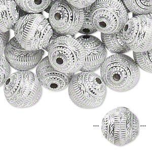 bead, acrylic, white and silver, 11mm round with line design, 2mm hole. sold per pkg of 100.