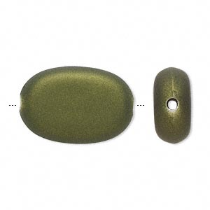 bead, acrylic with rubberized coating, avocado green, 24x16mm oval. sold per pkg of 40.