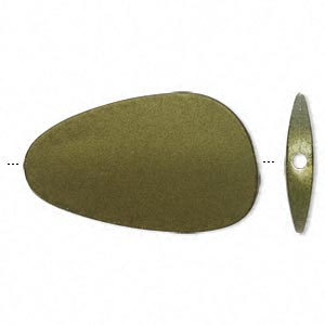 bead, acrylic with rubberized coating, avocado green, 56x32mm freeform. sold per pkg of 10.