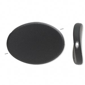 bead, acrylic with rubberized coating, black, 35x26mm flat twisted oval. sold per pkg of 25.
