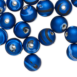 bead, acrylic with rubberized coating, blue / black / light blue, 10mm round with stripes. sold per pkg of 100.