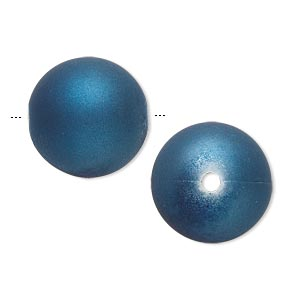 bead, acrylic with rubberized coating, blue, 18mm round. sold per pkg of 30.