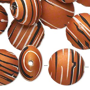 bead, acrylic with rubberized coating, burnt orange / black / white, 18mm puffed flat round with stripes. sold per pkg of 30.