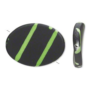 bead, acrylic with rubberized coating, green and black, 35x26mm flat twisted oval. sold per pkg of 25.