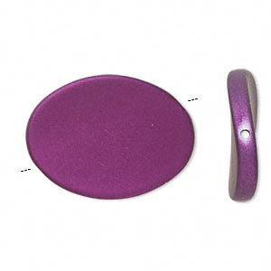 bead, acrylic with rubberized coating, purple, 35x26mm flat twisted oval. sold per pkg of 25.