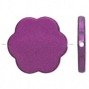 bead, acrylic with rubberized coating, purple, 37x37mm flower. sold per pkg of 20.