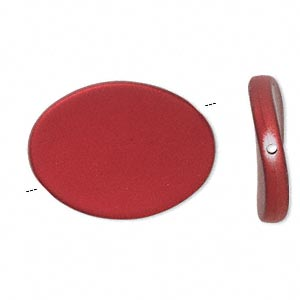 bead, acrylic with rubberized coating, red, 35x26mm flat twisted oval. sold per pkg of 25.