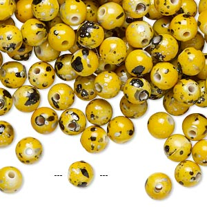 bead, acrylic, yellow and multicolored, 6mm round with speckles. sold per pkg of 800.